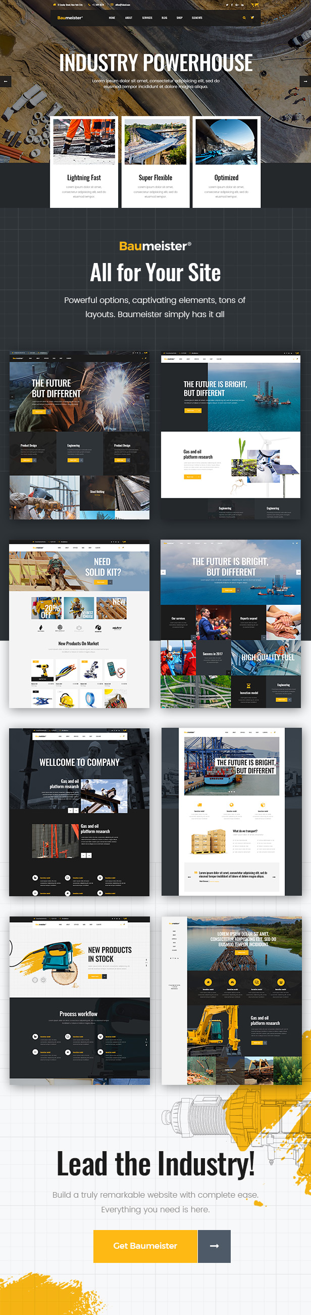WordPress theme Baumeister - A Powerful Theme for Industry and Manufacturing (Corporate)